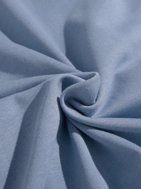 best Drop Shoulder Holiday On Line Print Hoodie - BLUE L Mobile