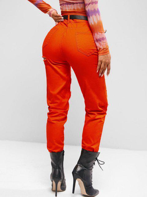 Ausgeschnittene Farbige Tapered Jeans - Leuchtend Orange XL Mobile