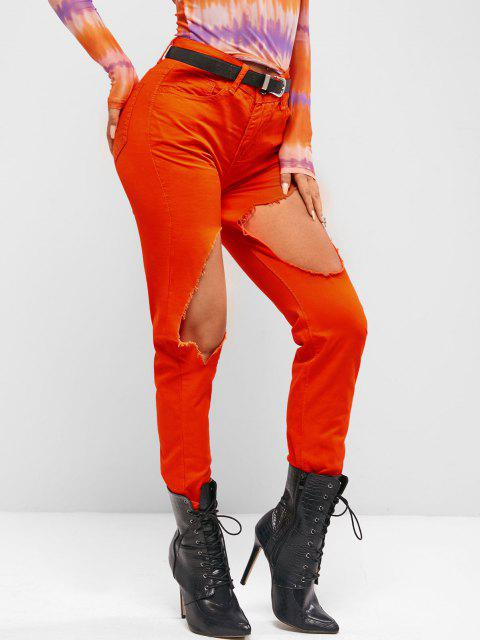 lady Destroyed Cut Out Colored Tapered Jeans - BRIGHT ORANGE XL Mobile