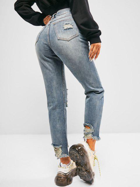 hot Distressed Faded Frayed Hem Stove Pipe Jeans - DENIM BLUE L Mobile