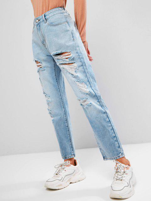 lady ZAFUL Ripped Five Pockets Zipper Fly Jeans - LIGHT BLUE L Mobile