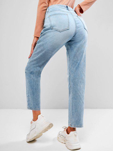 ZAFUL Jeans Rasgados de Cinco Bolsillos y Cremallera - Azul claro XL Mobile