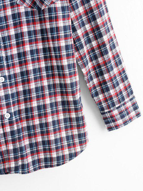 buy Plaid Print Pocket Patch Button Up Shirt - RED S Mobile