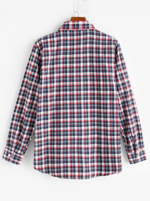 outfit Plaid Print Pocket Patch Button Up Shirt - RED L Mobile