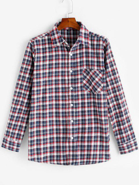 hot Plaid Print Pocket Patch Button Up Shirt - RED XS Mobile