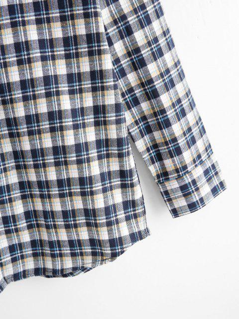 new Plaid Print Pocket Patch Button Up Shirt - YELLOW S Mobile