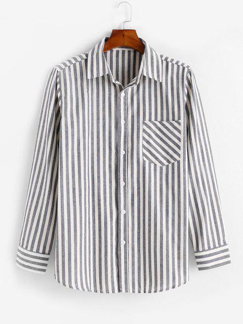 fancy Vertical Striped Print Long Sleeve Pocket Shirt - MULTI M Mobile