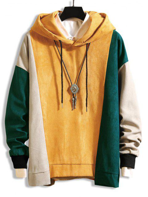 womens Color-blocking Asymmetrical Hem Drawstring Hoodie - YELLOW 2XL Mobile