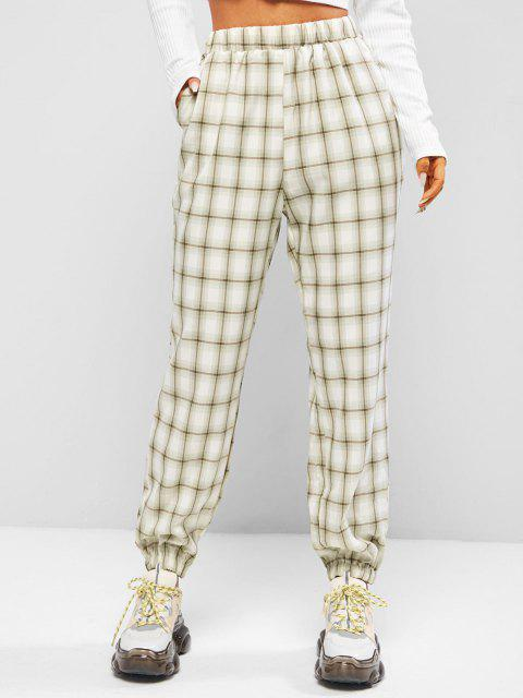 Pantalones Cintura Alta a Cuadros Bolsillos - Verde claro M Mobile