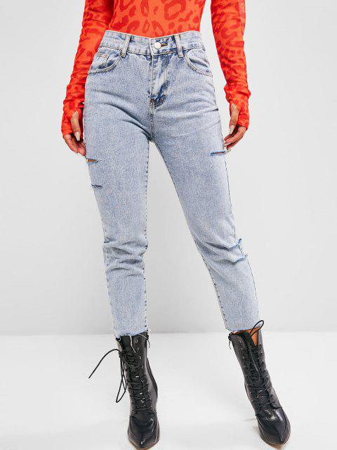 buy Distressed Rip Detail Raw Hem Pencil Jeans - LIGHT BLUE M Mobile