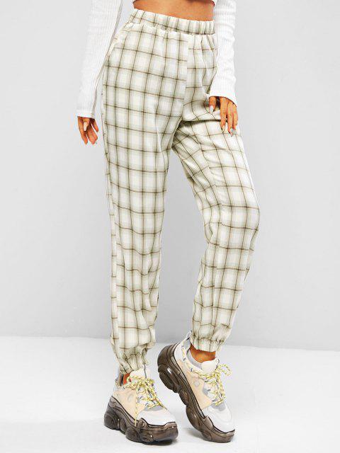 women Slant Pockets Plaid High Waisted Pants - LIGHT GREEN L Mobile