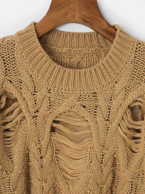 Camisola de Lã Tricotada com Gola Redonda - Café Um Tamanho Mobile