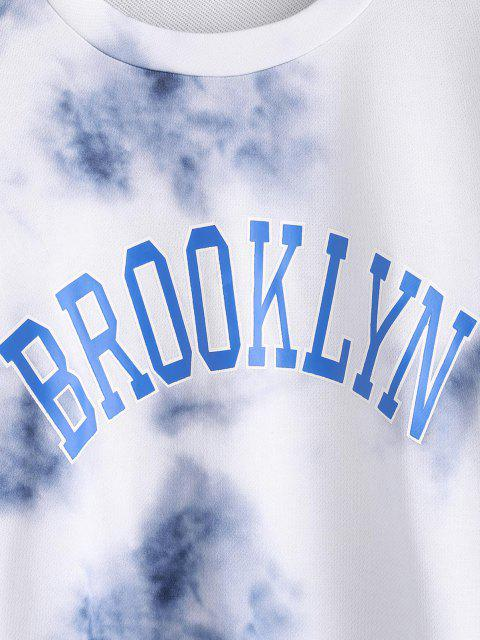 sale Letter Tie Dye Drop Shoulder Loose Sweatshirt - LIGHT BLUE S Mobile