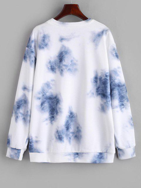 Letter Tie Dye Drop Shoulder Loose Sweatshirt - أزرق فاتح L Mobile