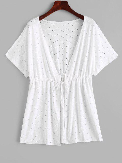 affordable Broderie Anglaise Waist Drawstring Tie Top - WHITE ONE SIZE Mobile