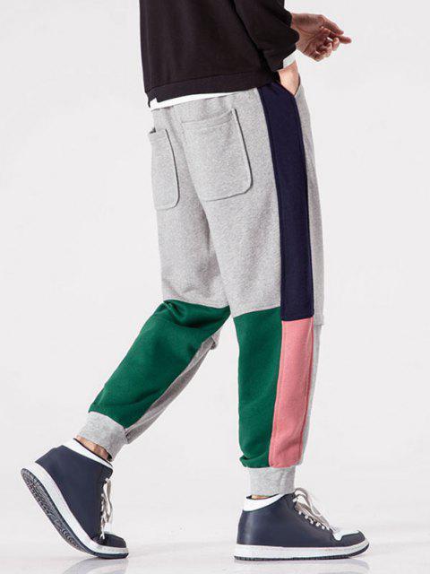 Jogger Pantalones de Multi-bolsillo con Color Bloque - Gris XS Mobile