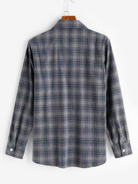 shops Long Sleeve Plaid Pattern Pocket Patch Shirt - GRAY XL Mobile