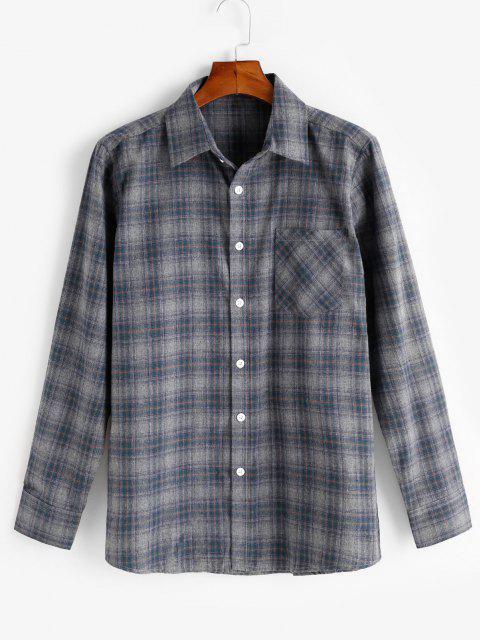 trendy Long Sleeve Plaid Pattern Pocket Patch Shirt - GRAY L Mobile