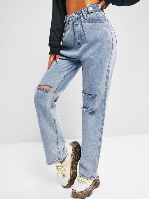 chic Distressed Light Wash Boyfriend Jeans - BLUE M Mobile