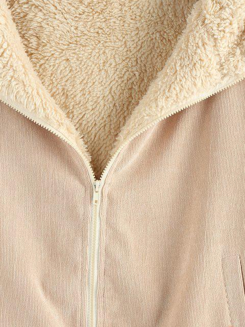 hot ZAFUL Hooded Fluffy Faux Fur Lined Corduroy Coat - LIGHT COFFEE M Mobile
