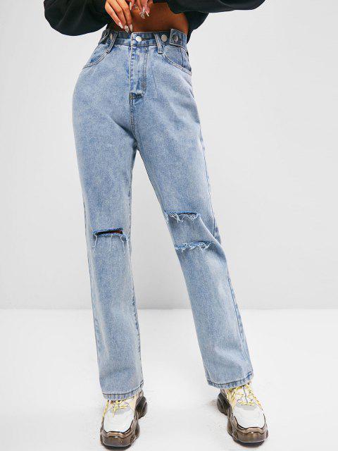 unique Distressed Light Wash Boyfriend Jeans - BLUE XL Mobile