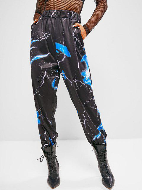 outfits High Waisted Lightning Print Jogger Sweatpants - BLACK S Mobile