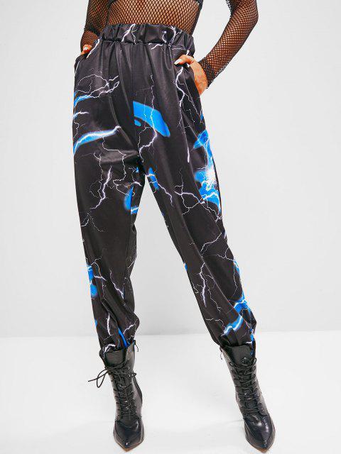 chic High Waisted Lightning Print Jogger Sweatpants - BLACK M Mobile