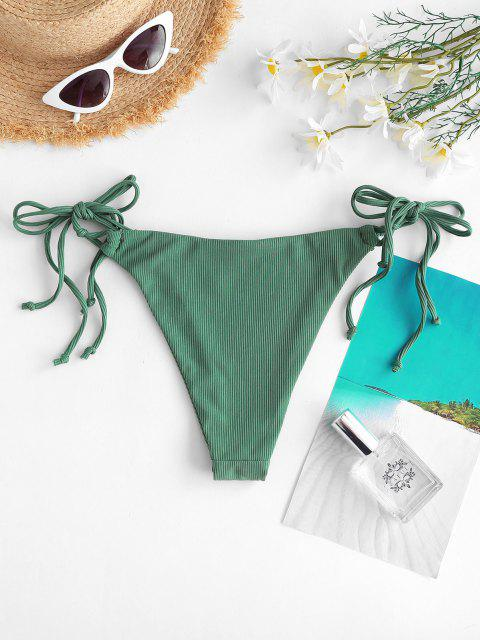 shop ZAFUL Ribbed Tie Side Tanga Bikini Briefs - DEEP GREEN S Mobile