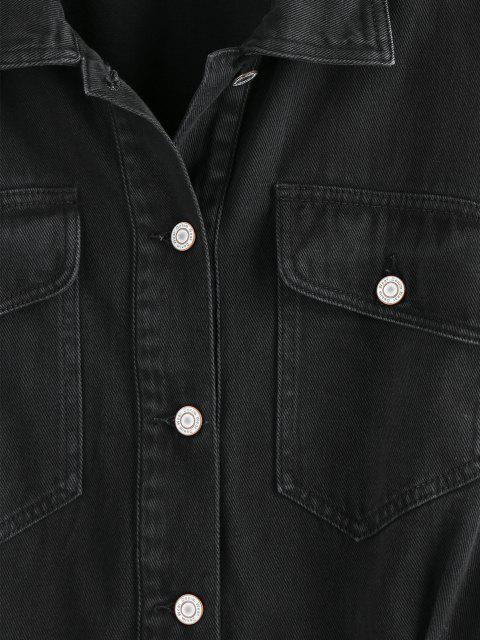 women's ZAFUL Flap Pockets Denim Jacket - BLACK L Mobile