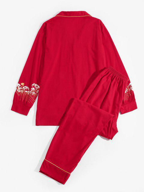 chic Sea Wave Koi Fish Pattern Pajama Set - RED L Mobile