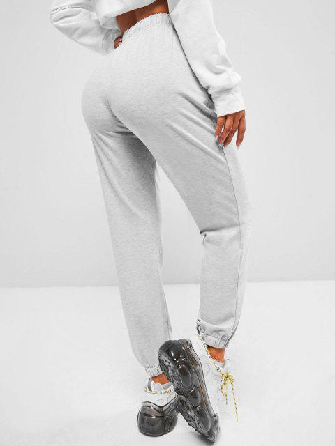 trendy ZAFUL Pocket California Graphic High Waisted Jogger Pants - GRAY L Mobile