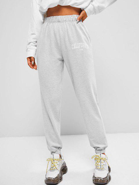 shop ZAFUL Pocket California Graphic High Waisted Jogger Pants - GRAY S Mobile