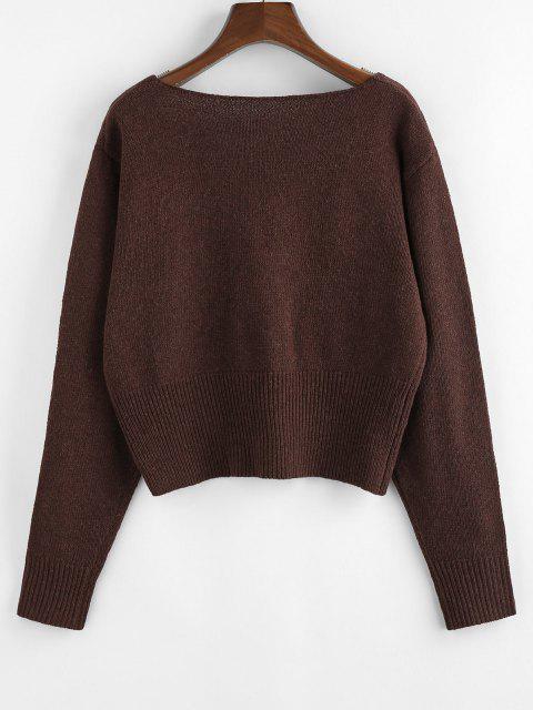ZAFUL Gerippter Pullover mit V Ausschnitt und Rippenbündchen - Kaffee L Mobile