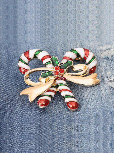 fashion Christmas Candy Cane Shape Brooch - GOLDEN  Mobile