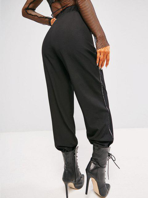 women's Letter-tape Side Toggle Drawstring High Waisted Pants - BLACK L Mobile