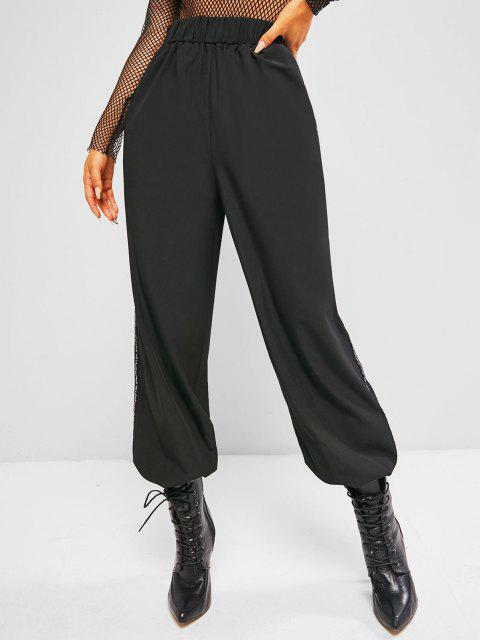 outfits Letter-tape Side Toggle Drawstring High Waisted Pants - BLACK M Mobile