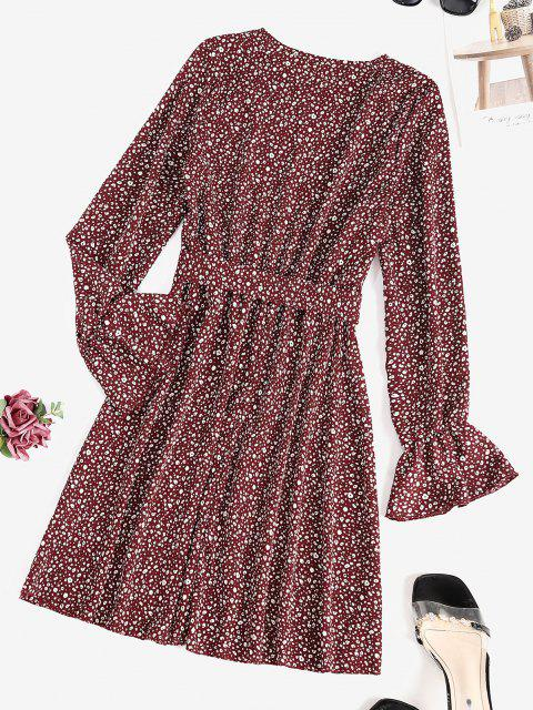 women's Leopard Poet Sleeve Belted Dress - DEEP RED M Mobile