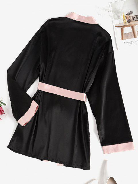 new ZAFUL Belted Contrast Trim Robe - BLACK S Mobile