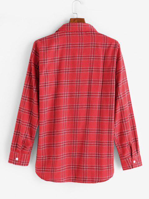 new Plaid Pattern Pocket Patch Shirt - RED M Mobile