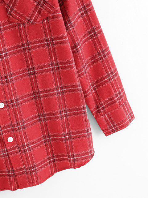unique Plaid Pattern Pocket Patch Shirt - RED XL Mobile