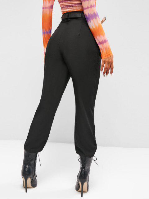 Pantaloni Pieghettati a Vita Alta - Nero M Mobile