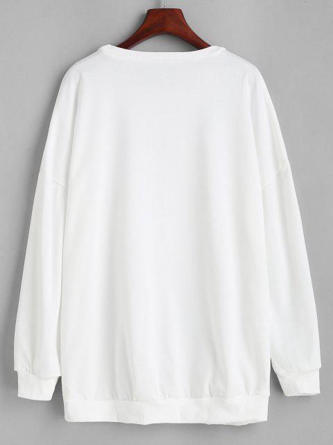 Sweat-shirt Lâche Imprimé Chat et Fleur Graphique - Blanc L Mobile