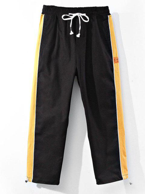 outfits Colorblock Side Trim Panel Elastic Waist Pants - YELLOW XS Mobile