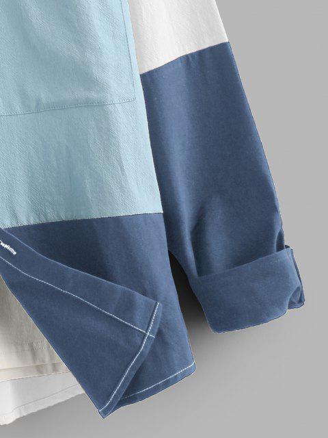 ladies ZAFUL Long Sleeve Contrast Cargo Shirt - WHITE 2XL Mobile