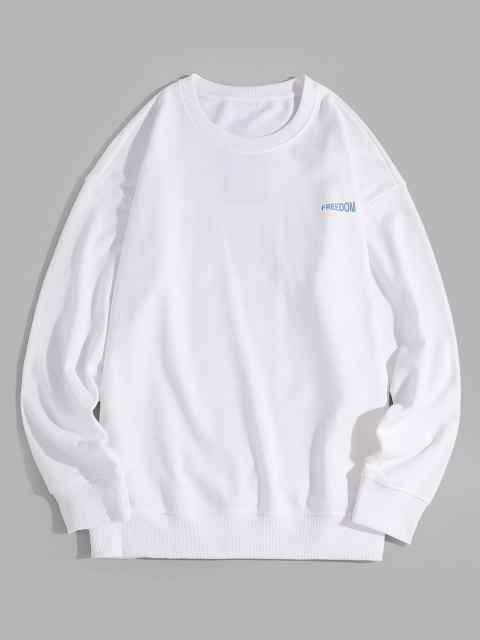 Fallschulter Zipper Grafik Sweatshirt - Weiß 2XL Mobile