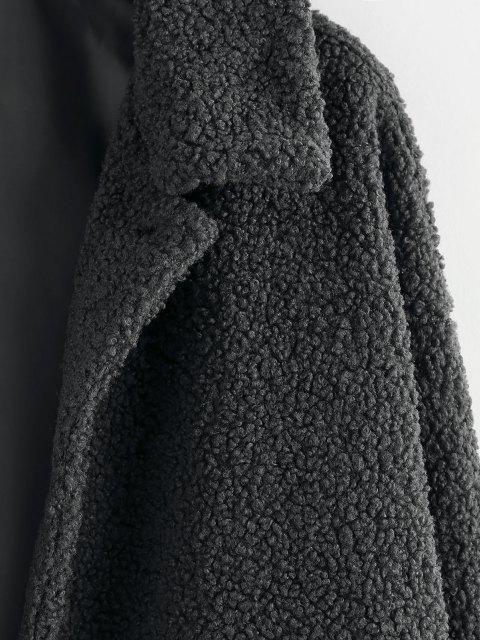 ZAFUL Hängender Schulter Knopf Lange Teddy Jacke - Kohle Grau S Mobile