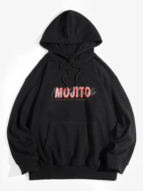 Mojito Letter Print Drop Shoulder Hoodie - أسود M Mobile