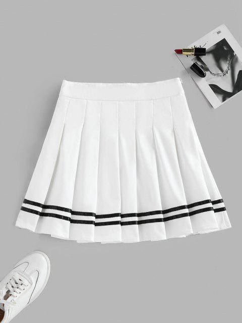 fashion ZAFUL Knife Pleated Striped A Line Skirt - WHITE M Mobile