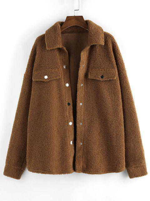 ZAFUL Drop Shoulder Button Up Long Teddy Coat - بنى L Mobile