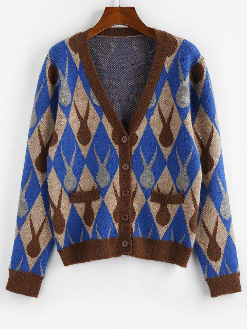 lady ZAFUL Argyle Plunging Button Up Cardigan - MULTI S Mobile